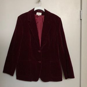 Henri Bendel burgundy velvet blazer